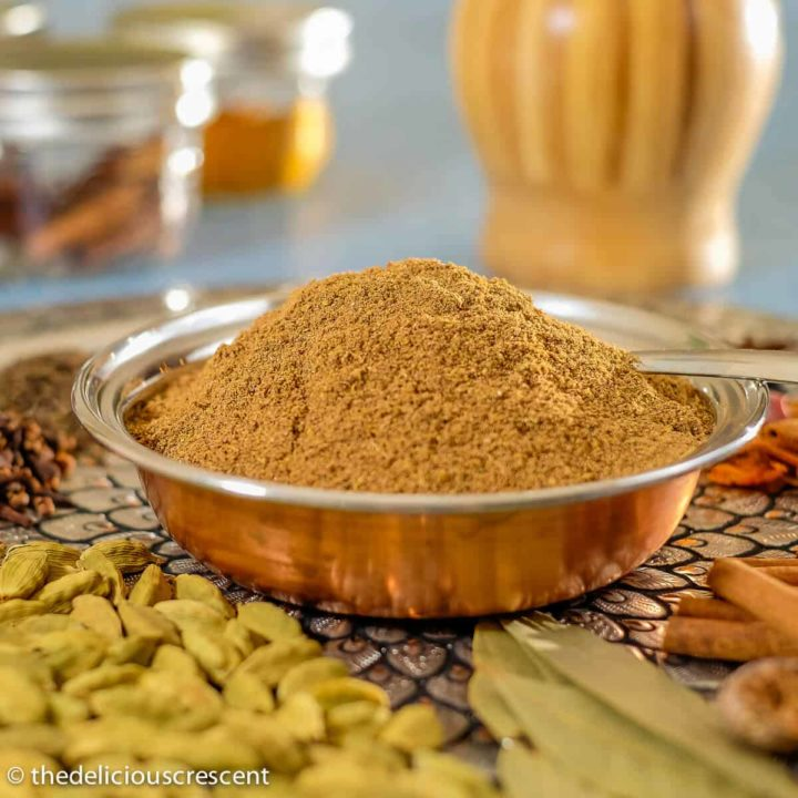 Garam masala filled in a bowl.