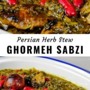 Different views of Ghormeh Sabzi in a serving dish.