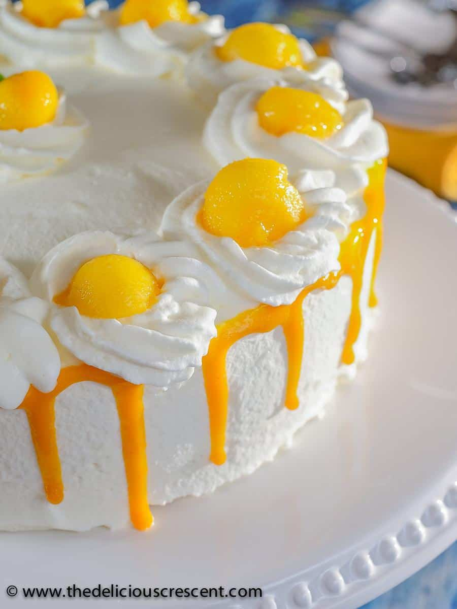 Front view of a mango layer cake