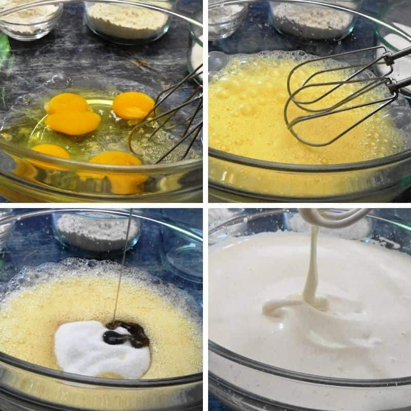 Eggs whipped to make a sponge cake.