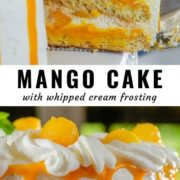 Different views of a mango layer cake