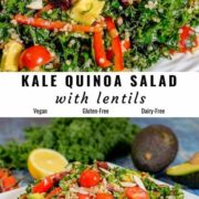 Different views of quinoa salad with kale and lentils served on a white plate.