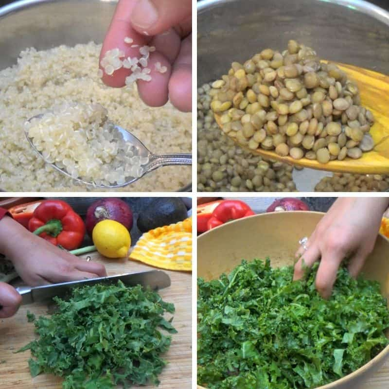 Lentils, quinoa and kale being prepared.