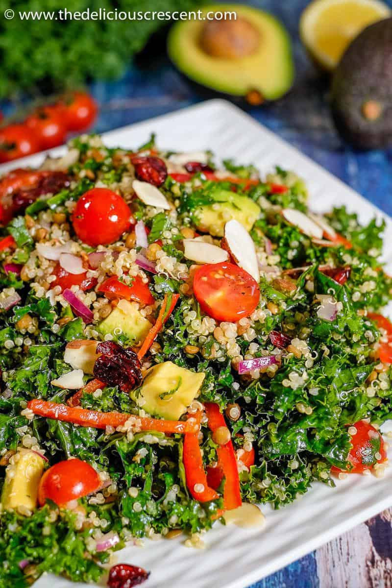 Quinoa salad with kale and lentils served on a white plate.