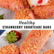 Strawberry shortcake ice cream bars arranged on a white plate.