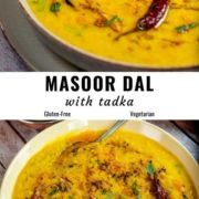 Different views of dal served in a bowl.