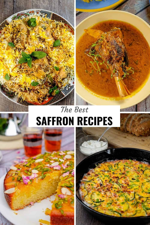 An assortment of saffron recipes
