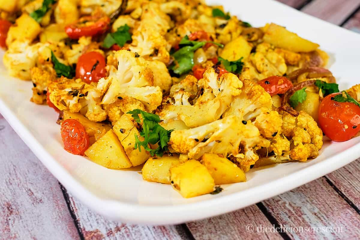 Front view of easy roasted aloo gobi .