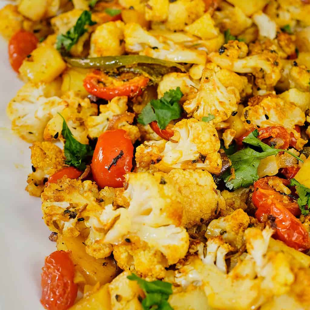 Indian spiced roasted cauliflower and potatoes.