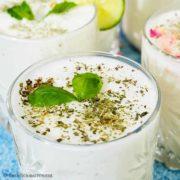 Doogh, Persian yogurt drink served in glasses.