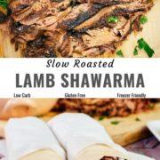 Different views of roast lamb shawarma.