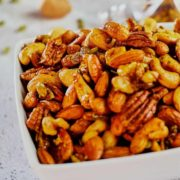 Sweet and savory party nuts recipe pin image.
