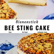 Bienenstich (bee sting cake) pin image with different views of the cake.