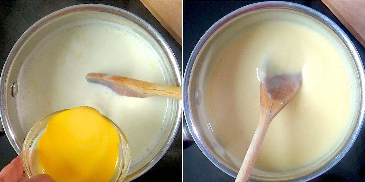 Making the vanilla pudding for filling the cake.
