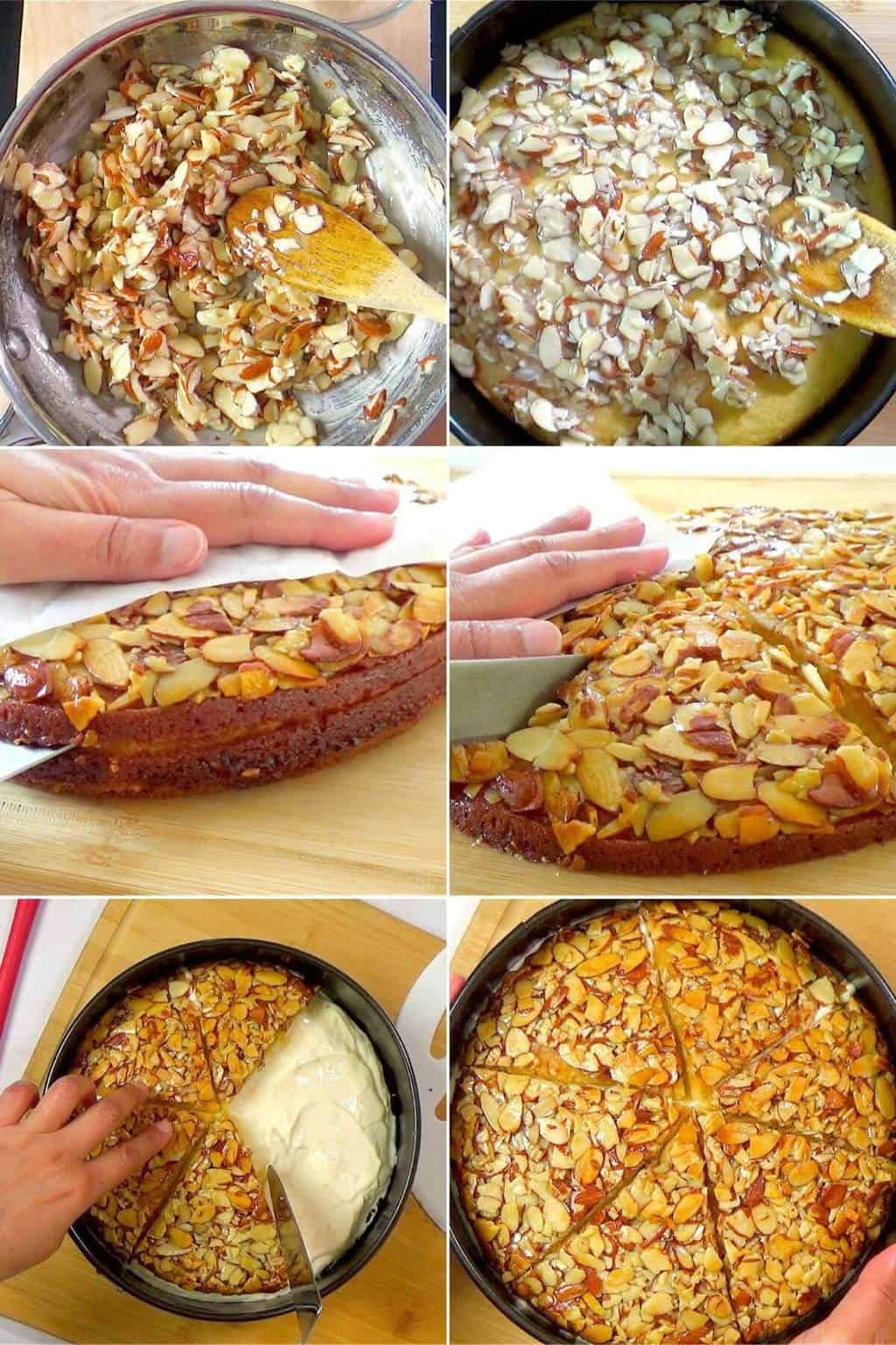 Step by step for making the almond topping and assembling the cake.