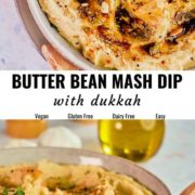 Butter bean mash dip pin image with different views of it.