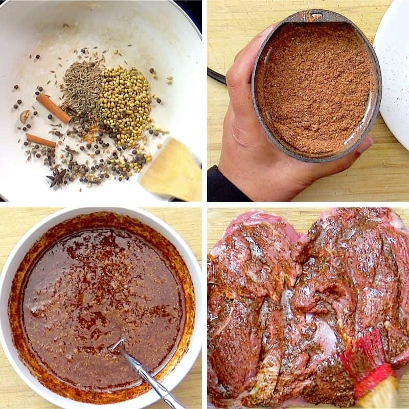 Preparing the spice blend, marinade and its application to the meat.