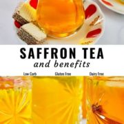 Saffron tea and its benefits pin image with different views.