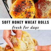 Soft honey wheat rolls pin image with different views.