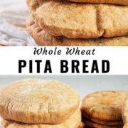 Whole wheat pita bread pin image with different views of the bread.