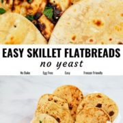 Easy skillet flatbreads pin image with different views.