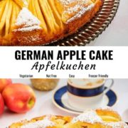 Easy German apple cake pin image with different views.