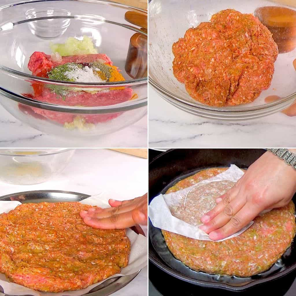 Preparing meat for easy pan kebab and shaping it in skillet.
