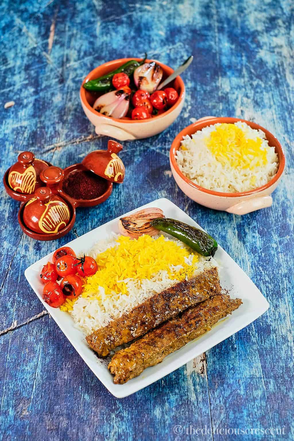 Overhead of a delicious Persian meal.
