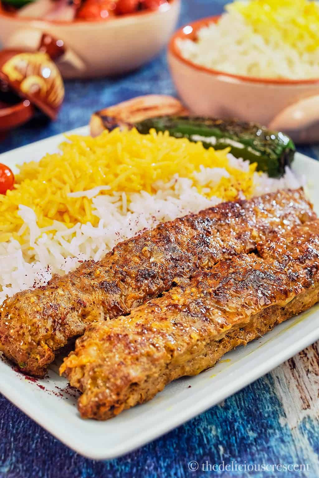 Kabab tabei serve with Persian saffron rice and vegetables.