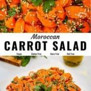 Moroccan carrot salad pin image.