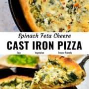 Spinach feta pan pizza pin image.