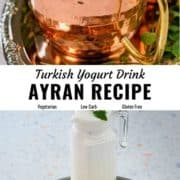 Ayran yogurt drink pin image.