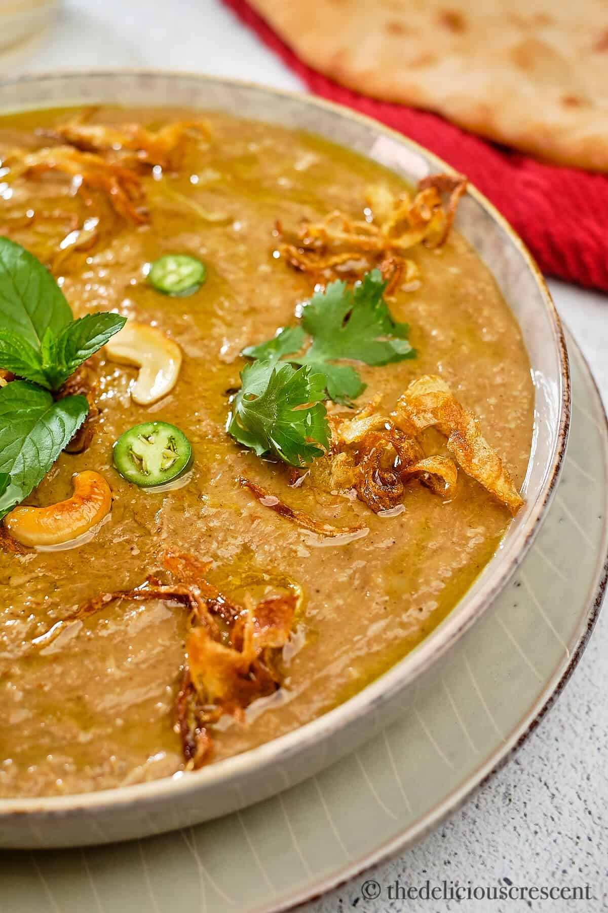 Front view of Hyderabadi haleem in a bowl.
