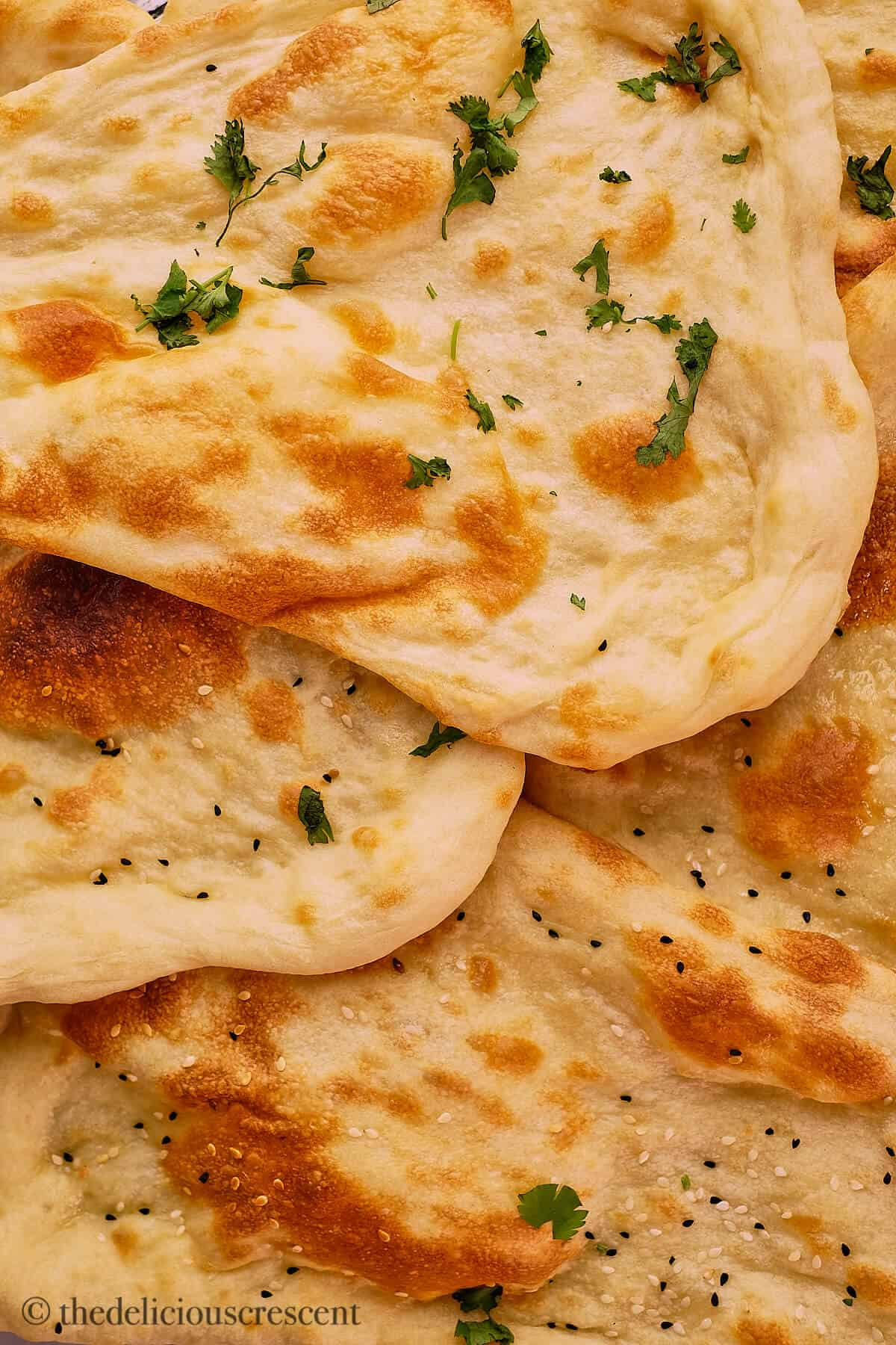 Close up view of naans.
