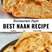 Homemade naan recipe pin image.