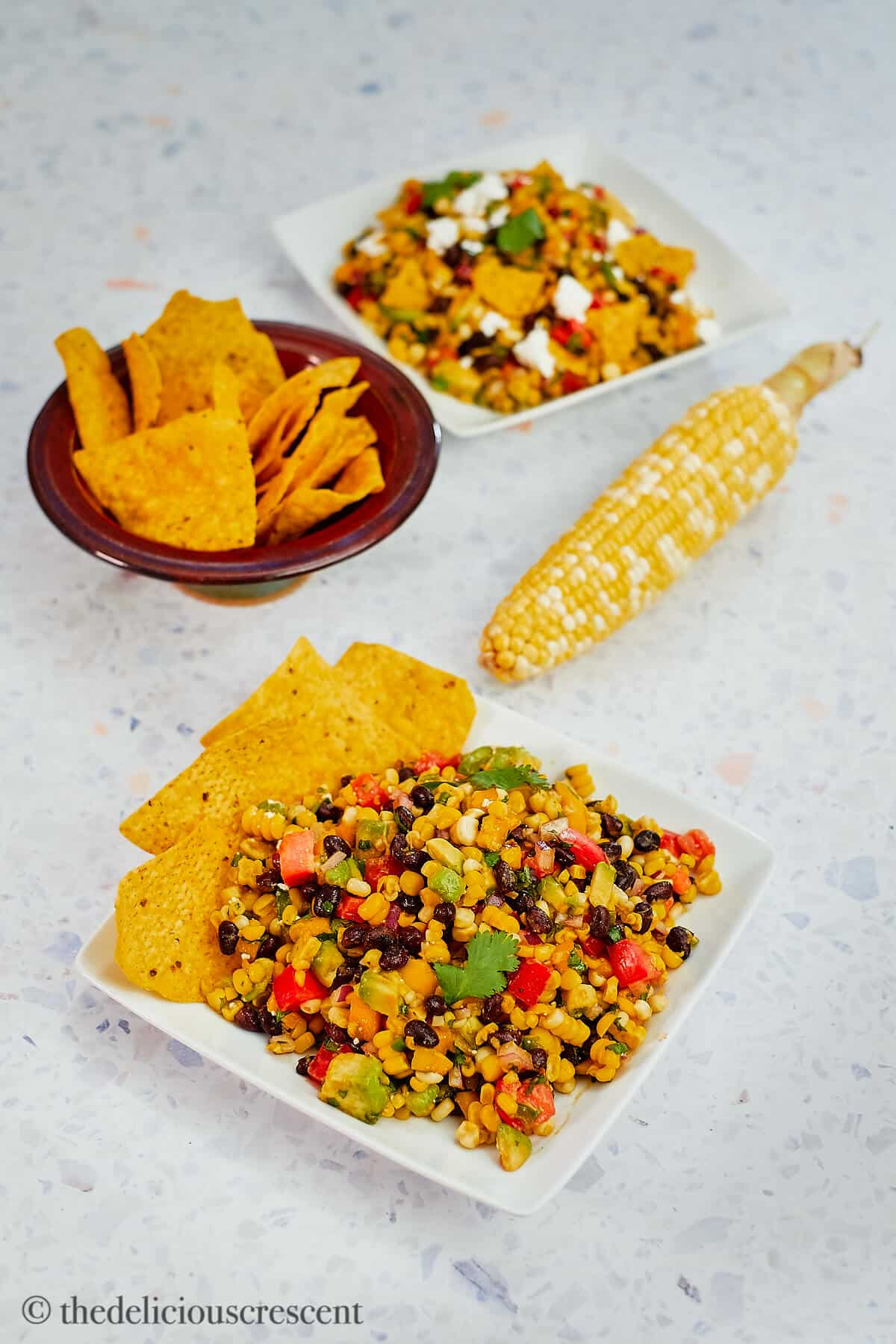 Overhead view of salad with corn chips on the side.