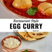 Egg curry recipe pin image.