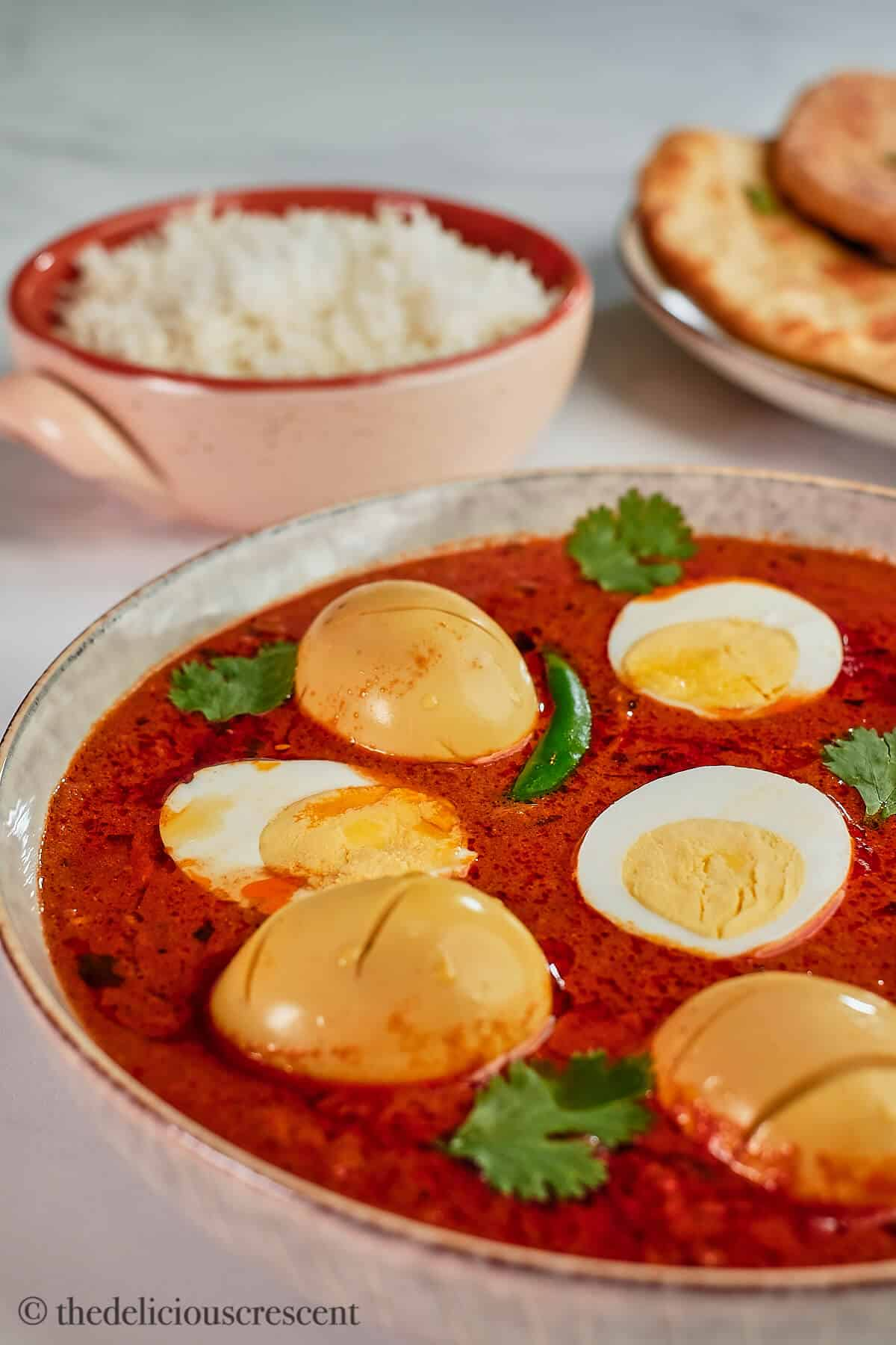 Indian egg curry served in a bowl.
