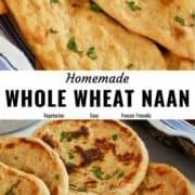 Whole wheat naan pin image.
