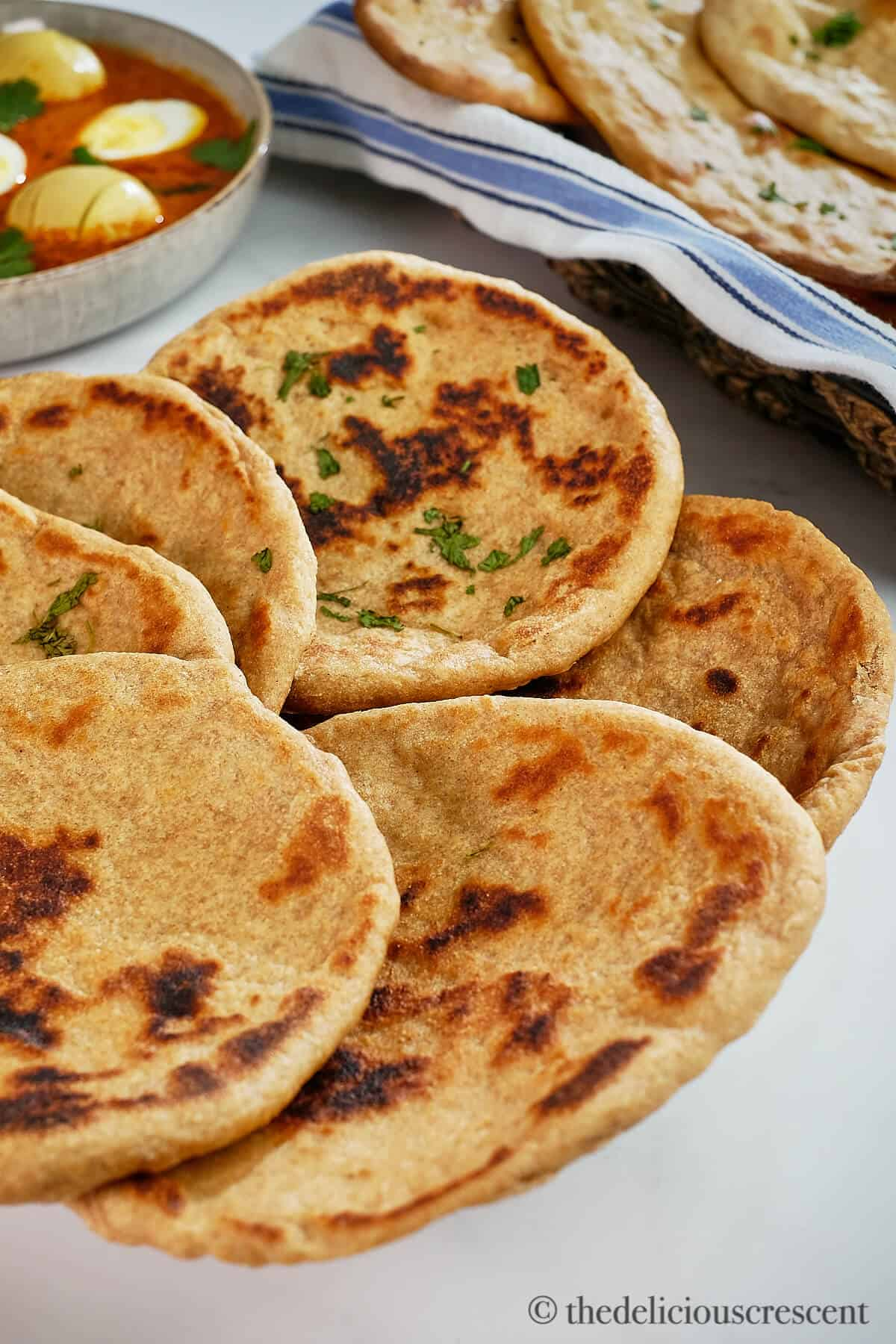 Healthy flatbreads cooked on stove top and served.
