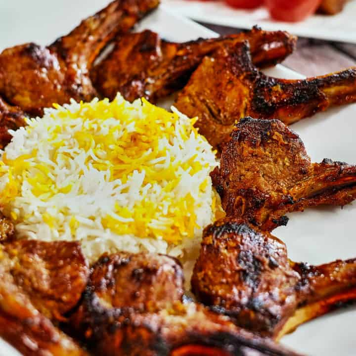 Persian lamb rib chops (shishlik) with rice.