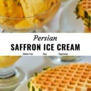 Persian saffron ice cream pin image.