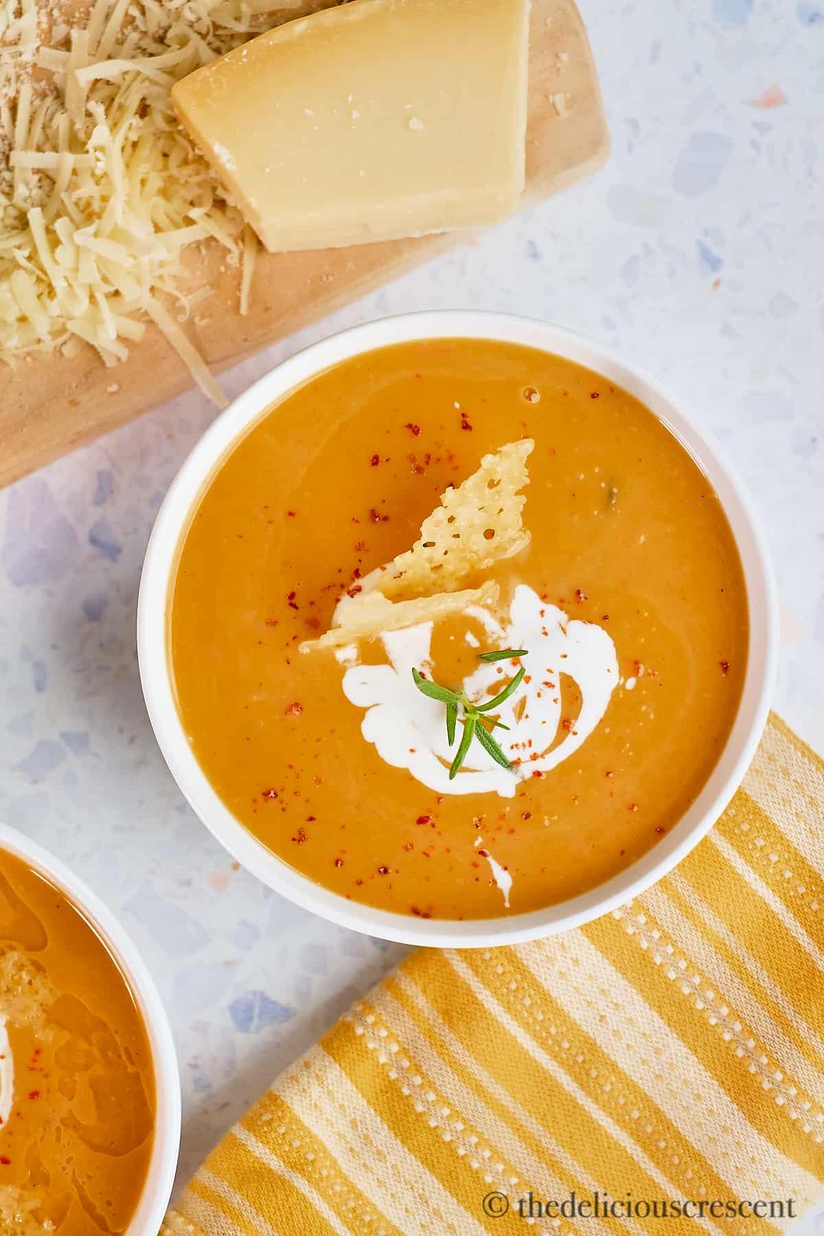 A bowl of creamy roasted sweet potato soup.