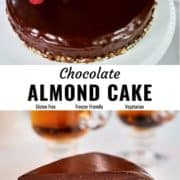 Chocolate almond cake pin image.