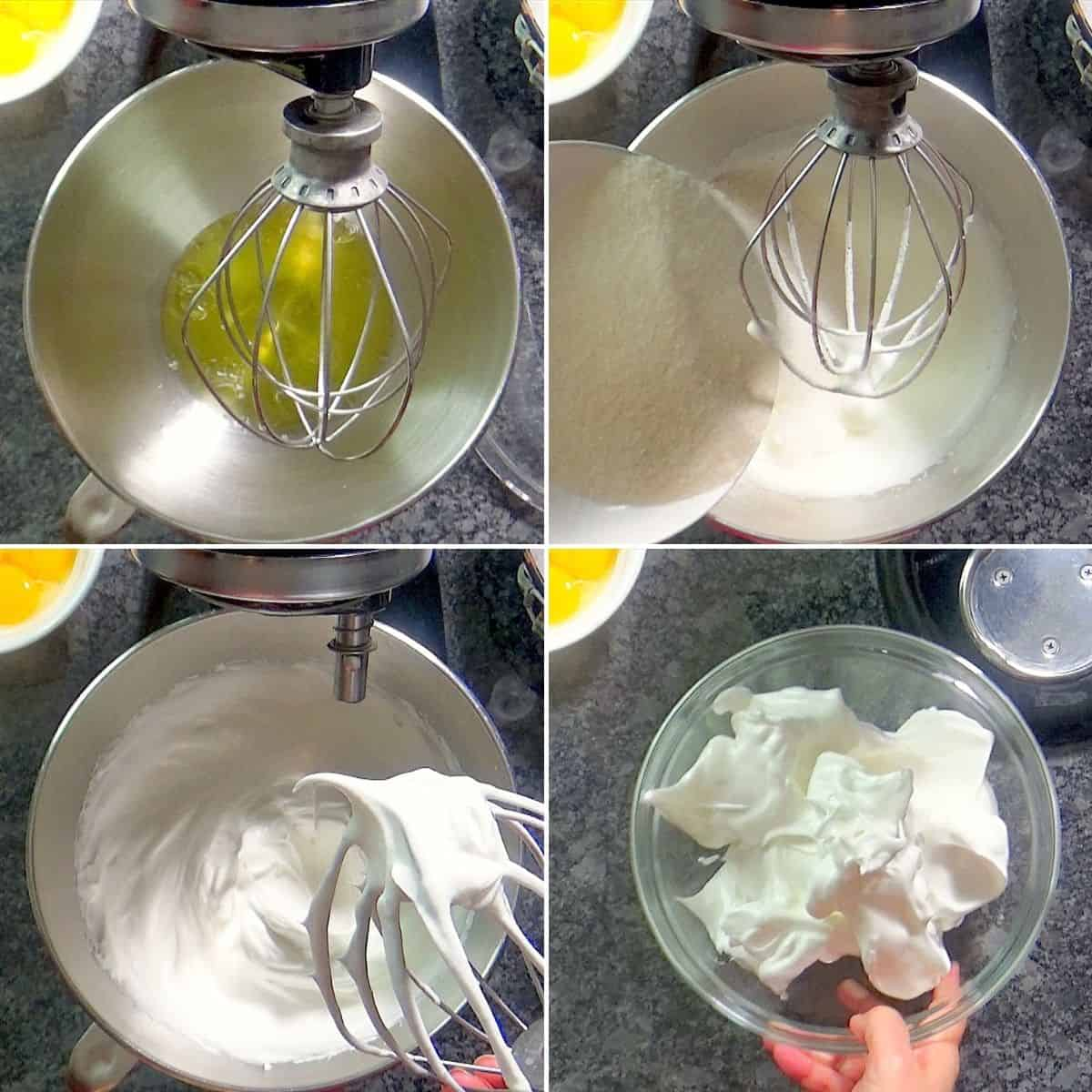 Whipping egg whites until stiff.