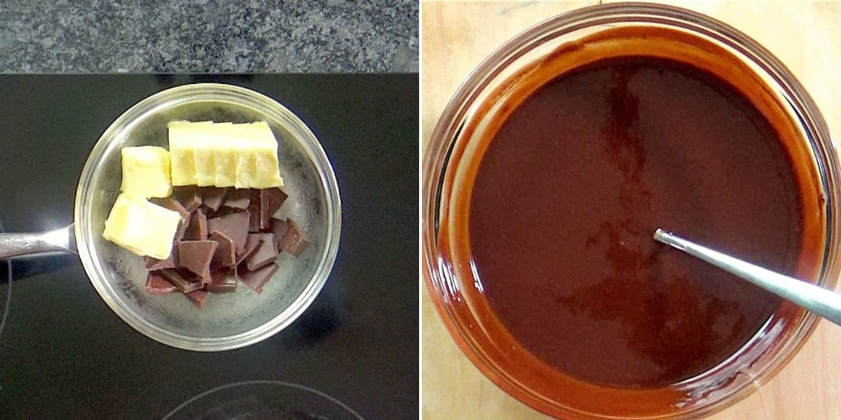 Melt chocolate with butter.