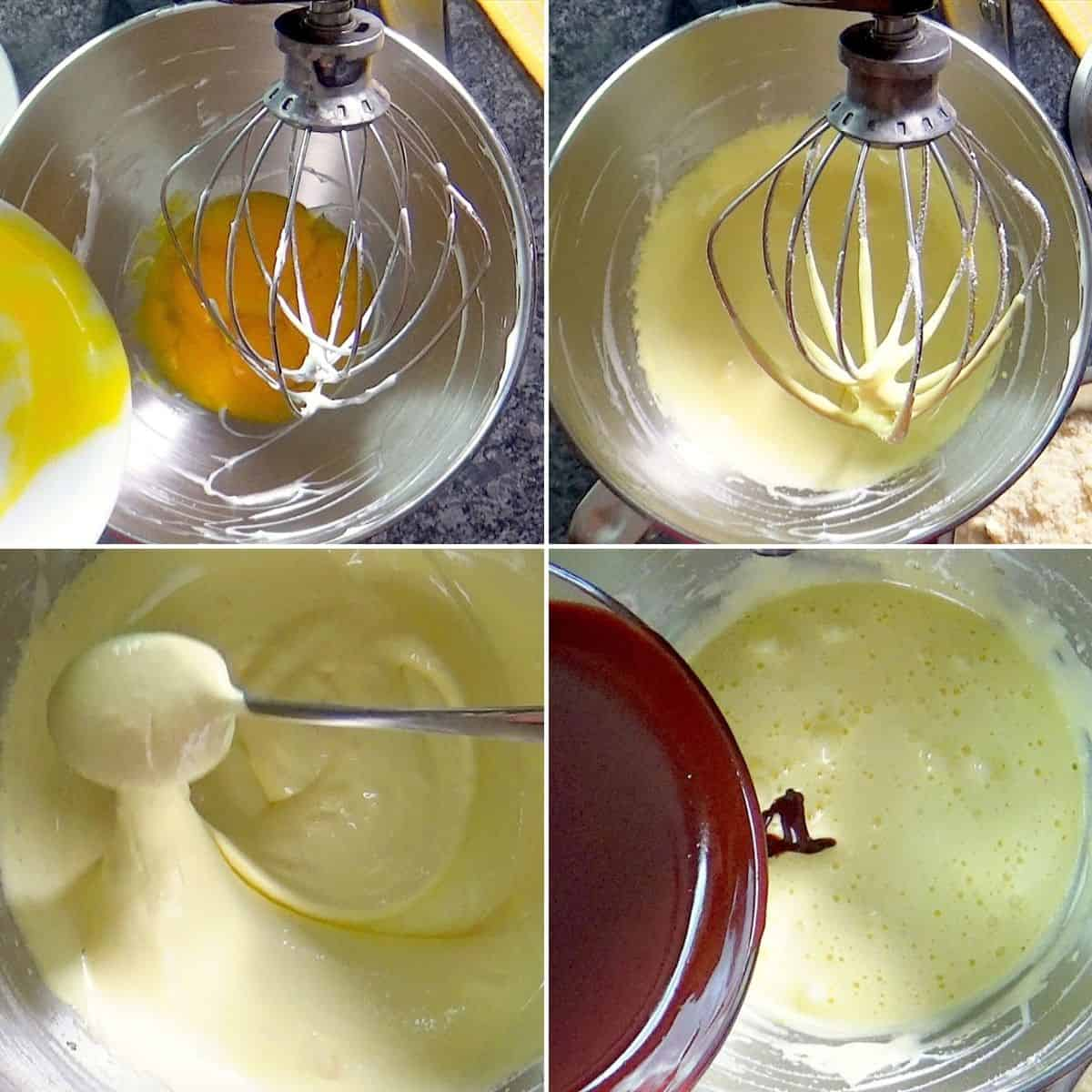 Whipping egg yolks and adding melted chocolate.