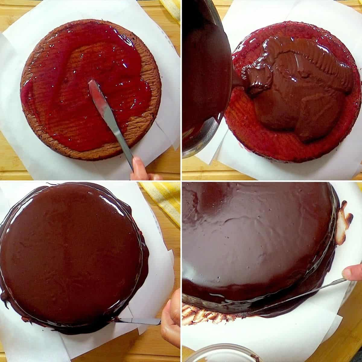 Spreading jam syrup and ganache icing.
