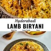 Hyderabadi lamb biryani pin image.