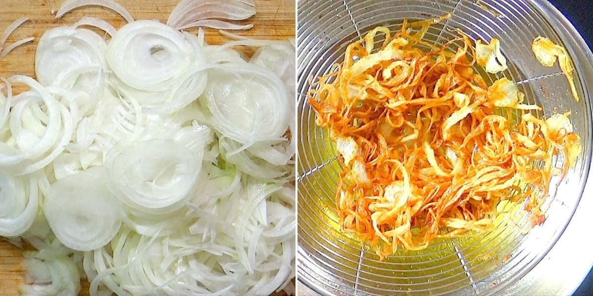 Frying thinly sliced onions.